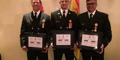 Three Saint John Firefighters  Receive Certificate Of Courage